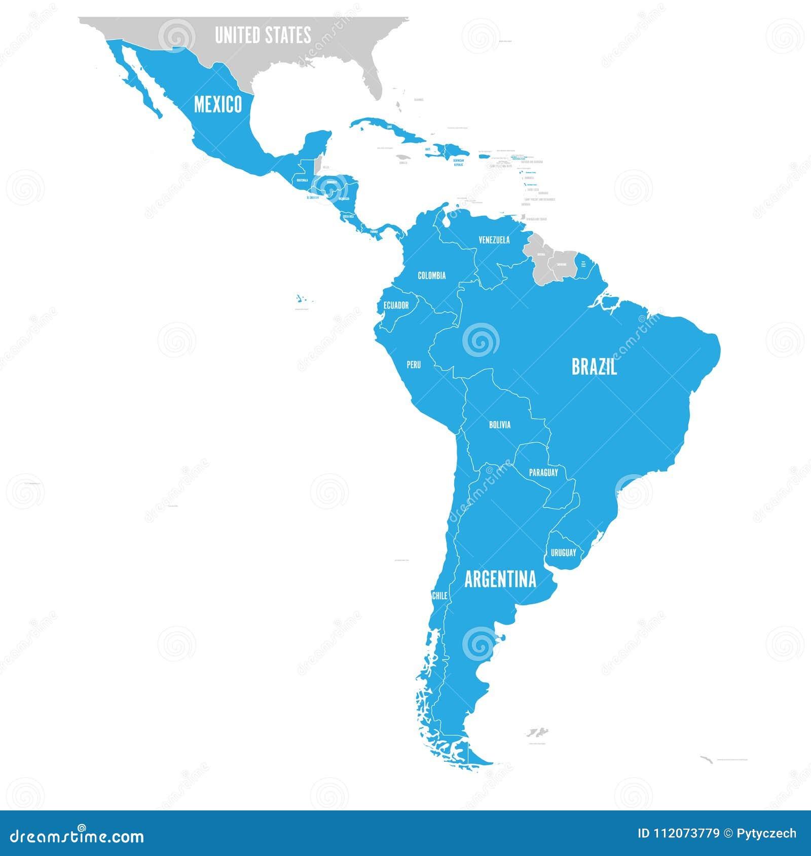 Politisk översikt av Latinamerika Latin - blått för amerikanska stater som markeras i översikten av Sydamerika, Central America o