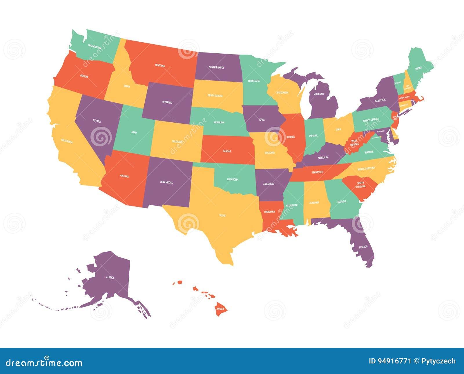 Politisk översikt av USA, Amerikas förenta stater Färgrikt med vittillståndet namnger etiketter på vit bakgrund vektor