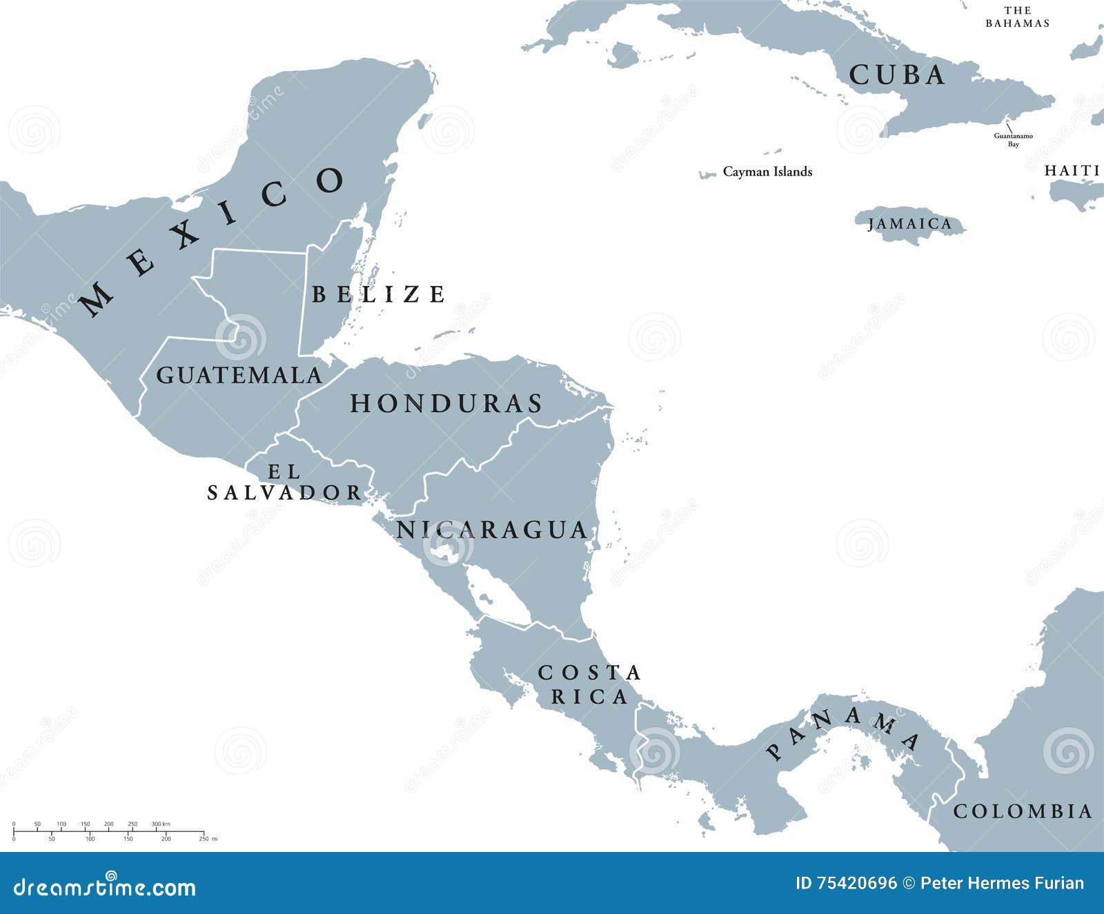 Politisk översikt för Central America länder