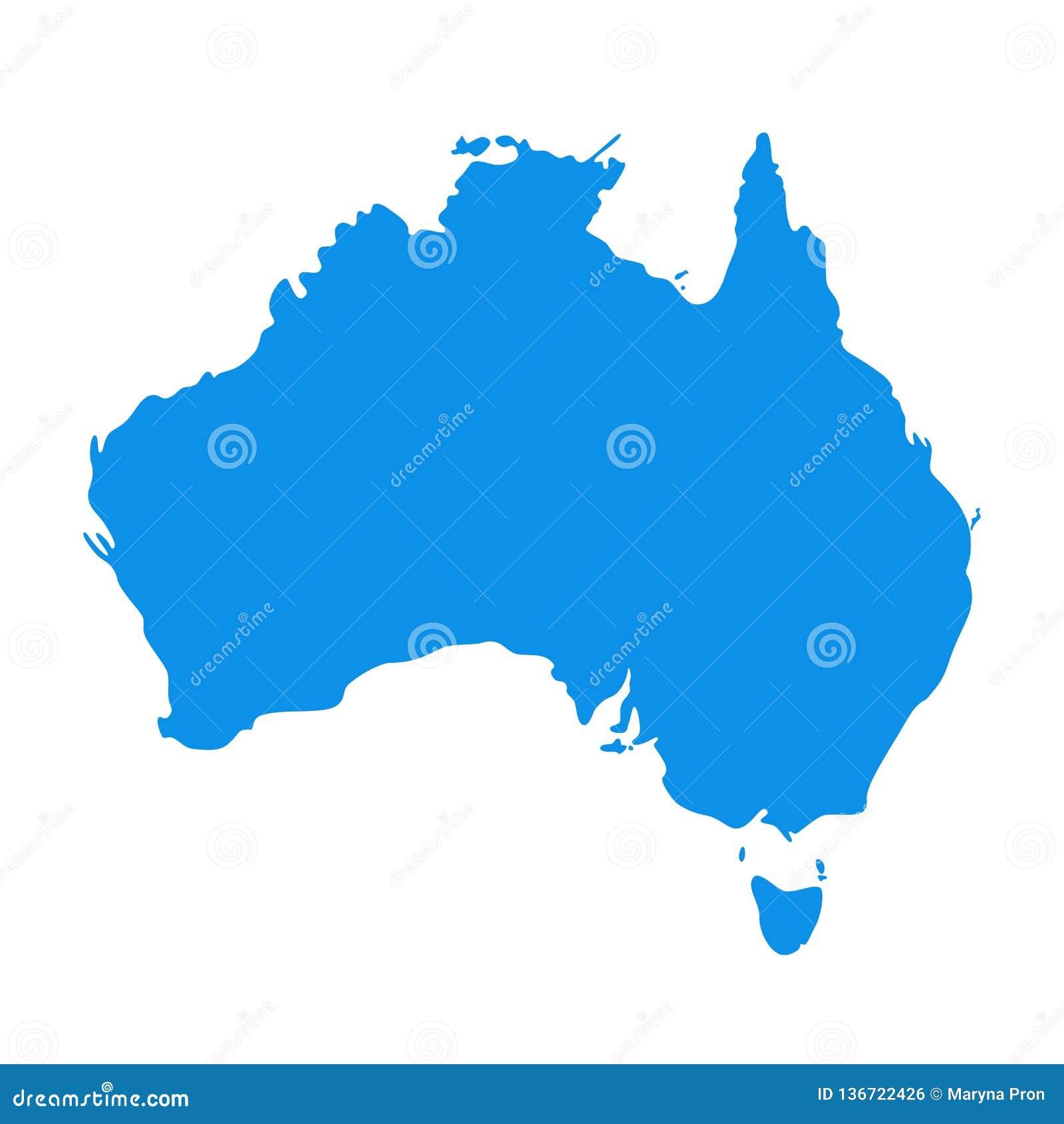 Politisk Australien kontinental översikt också vektor för coreldrawillustration Australisk kontinent för kontur
