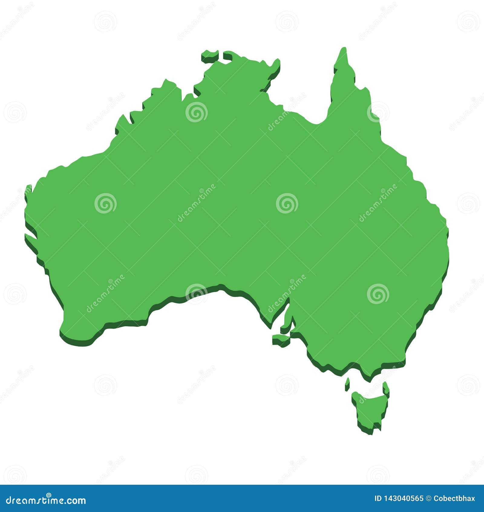 Politisk Australien kontinental ?versikt Australisk kontinent för kontur som isoleras på vit bakgrund Geografi- och kartografilän