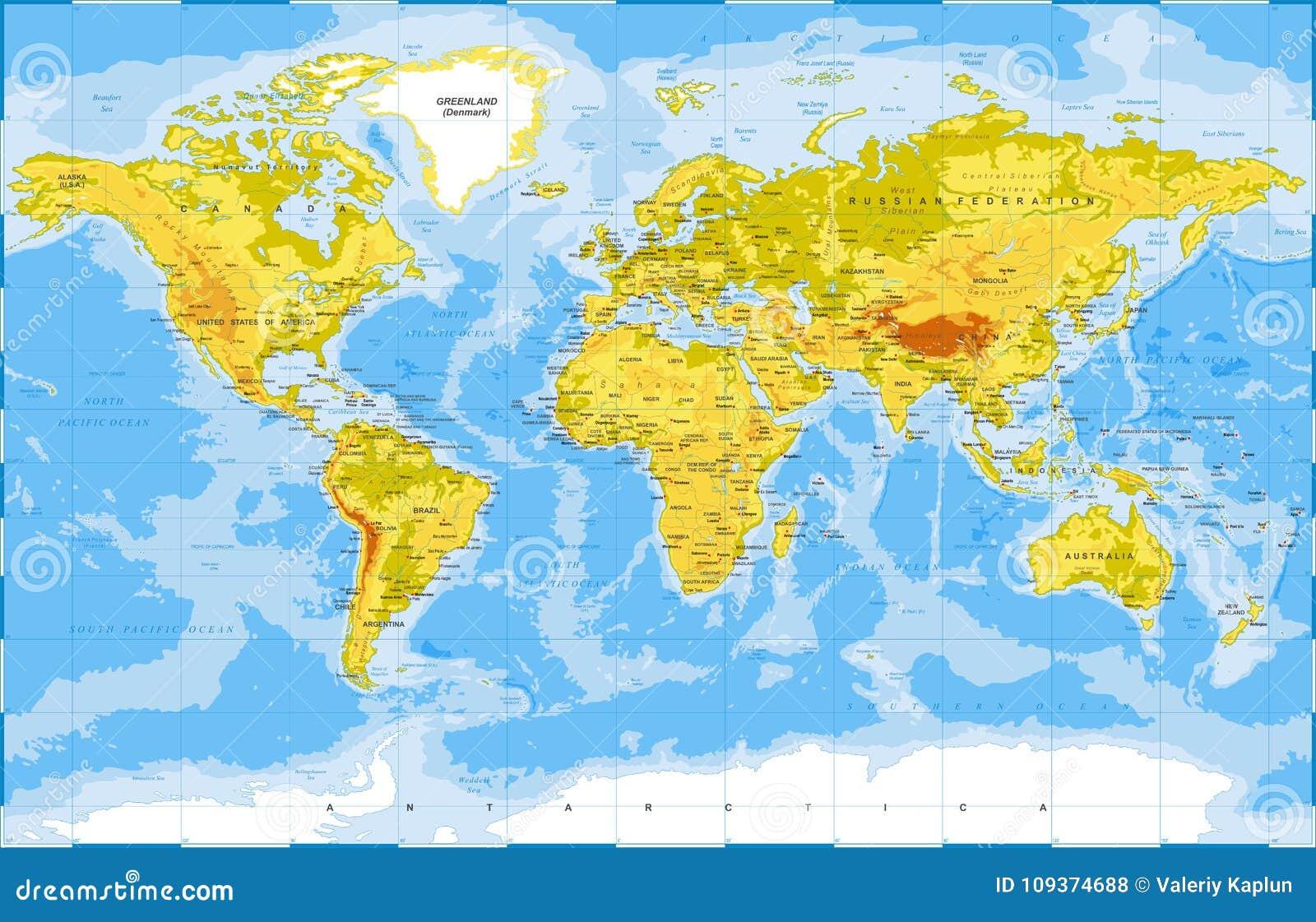Politisk fysisk Topographic kulör världskartavektor