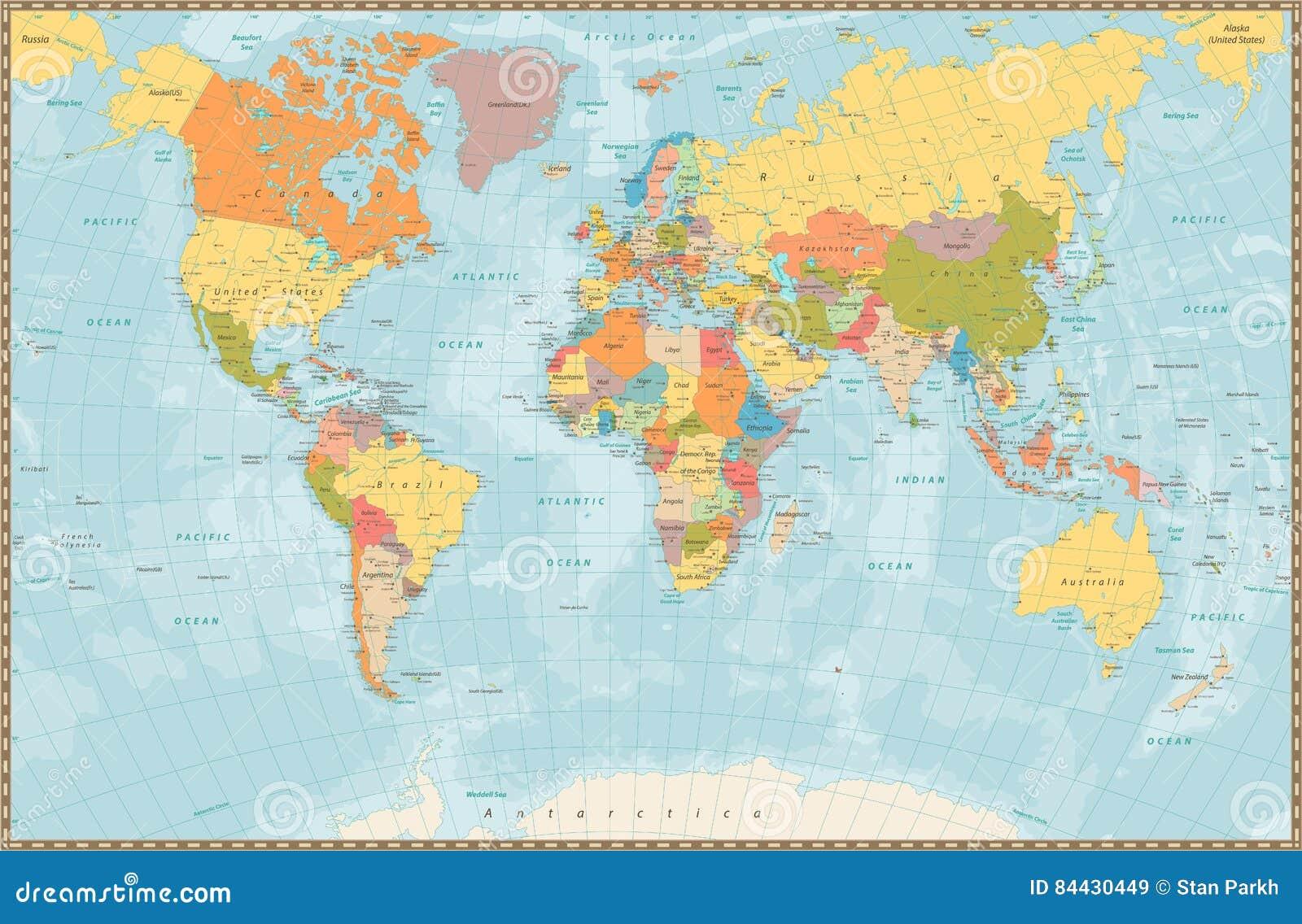 Karta Usa Sjoar.Politisk Varldskarta For Stor Detaljerad Tappningfarg Med Sjoar Och