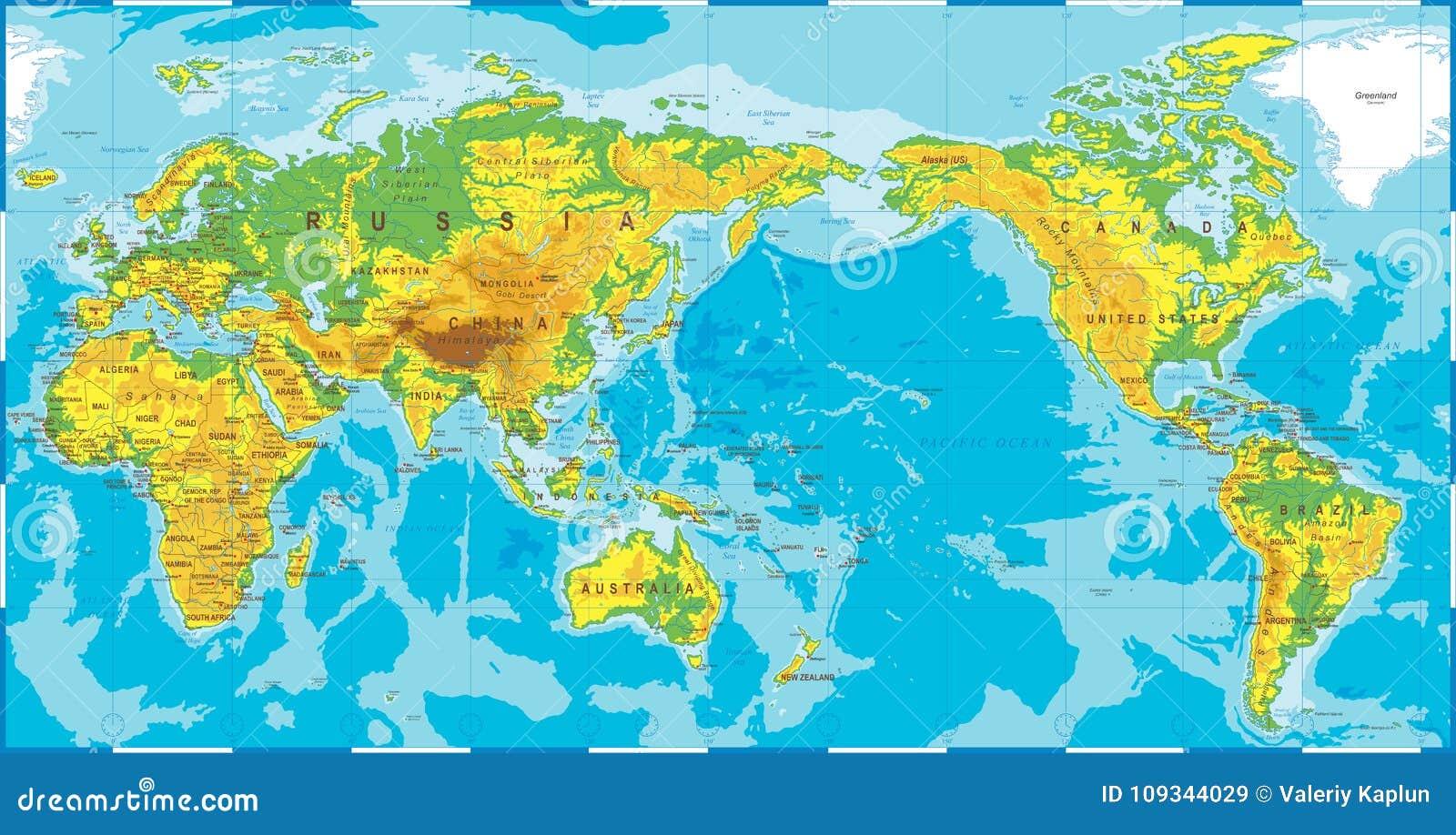 Politiskt centrerat fysiskt Topographic kulört Stillahavs- för världskarta
