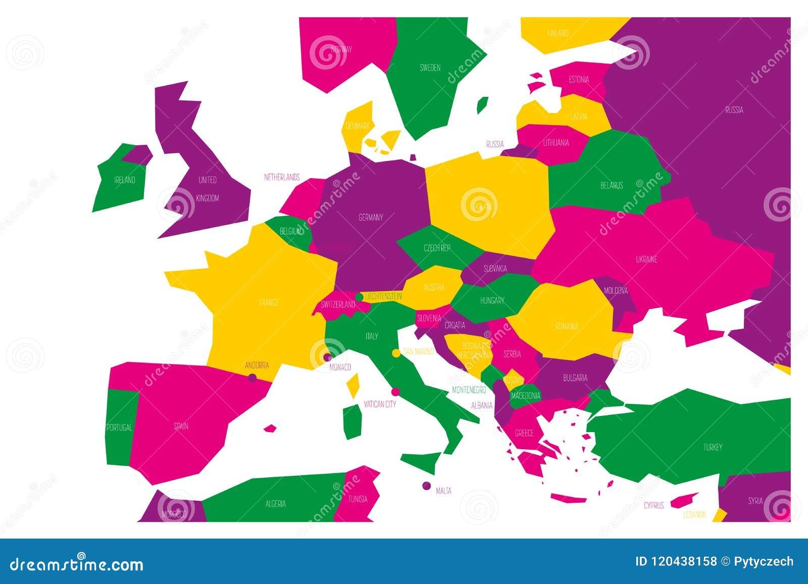 Polityczna mapa Środkowy i Południowy Europa Simlified schematyczna wektorowa mapa w cztery koloru planie