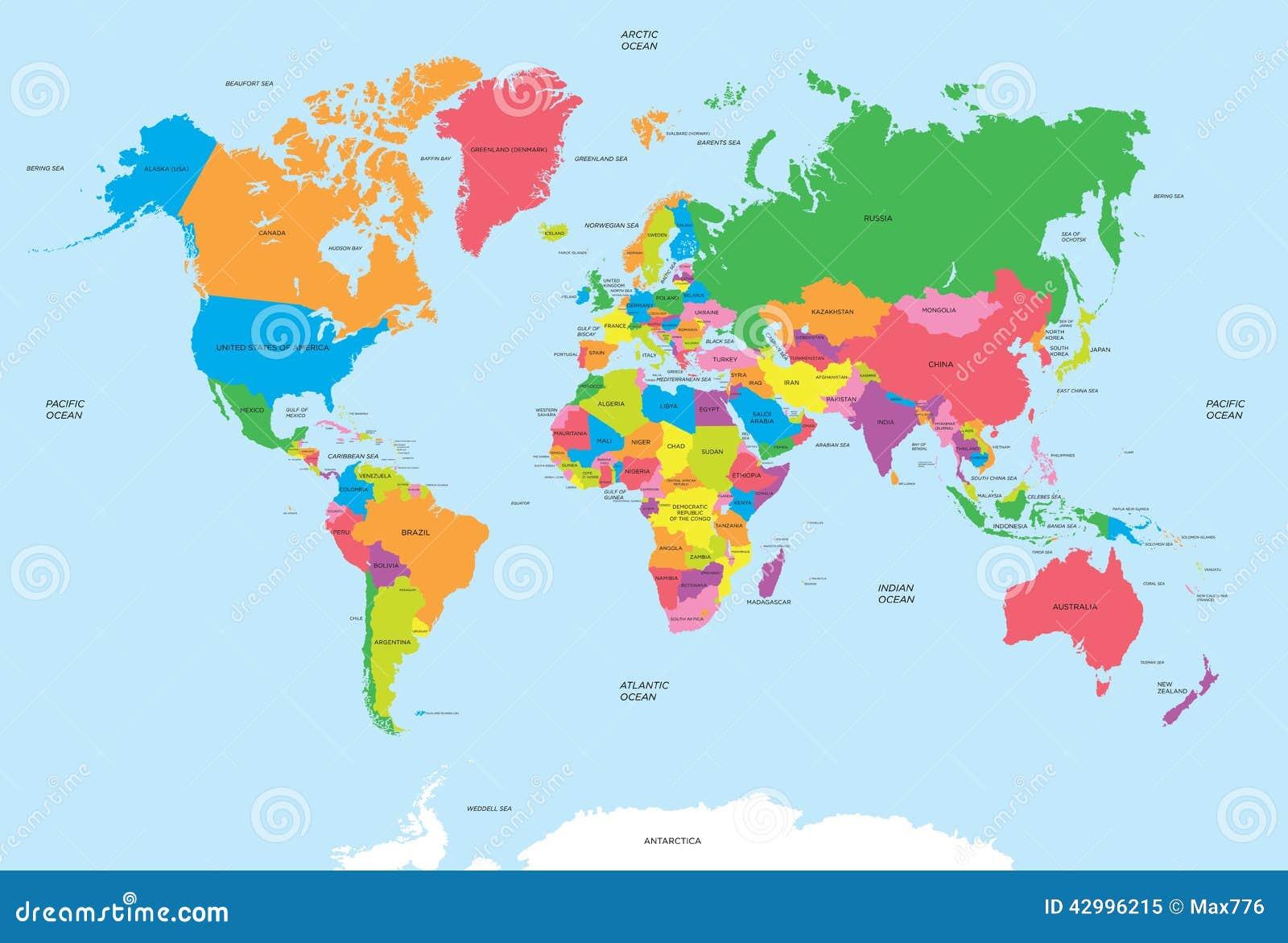 Polityczna mapa światowy wektor