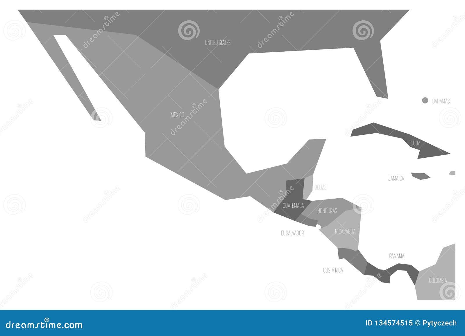Polityczna mapa Meksyk Amercia i centrala Simlified schematyczna płaska wektorowa mapa w cztery cieniach popielaty