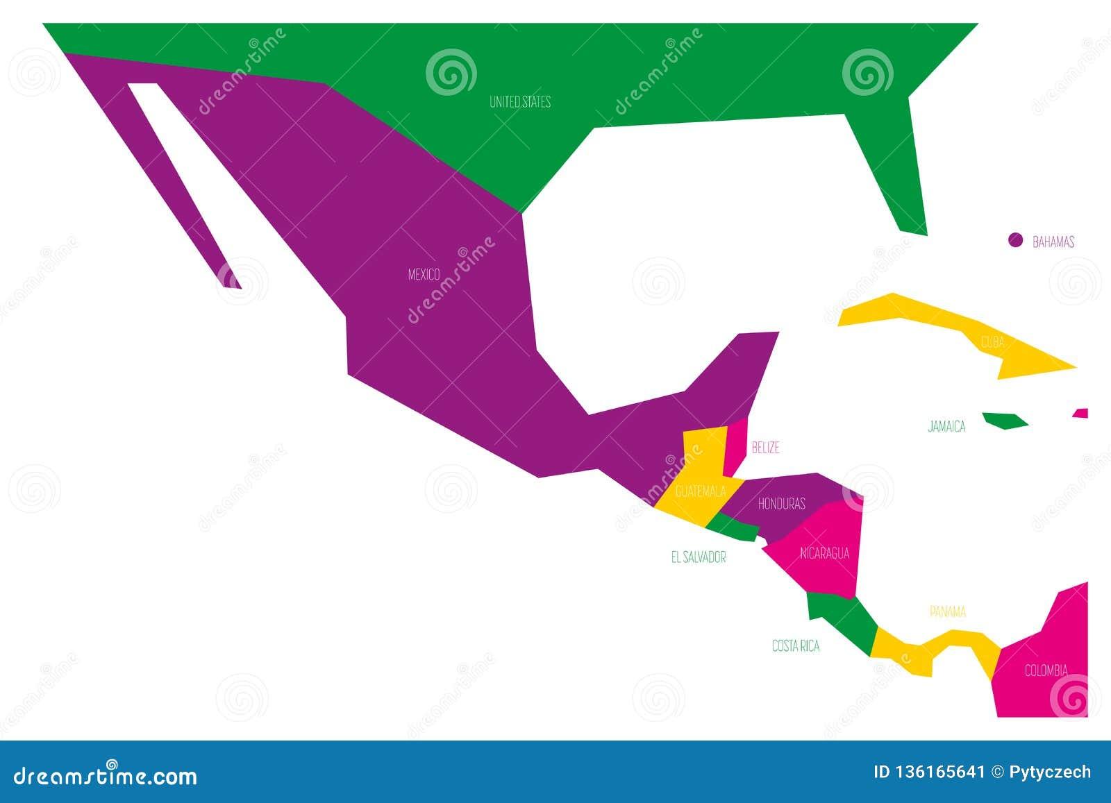 Polityczna mapa Meksyk Amercia i centrala Simlified schematyczna płaska wektorowa mapa w cztery koloru planie
