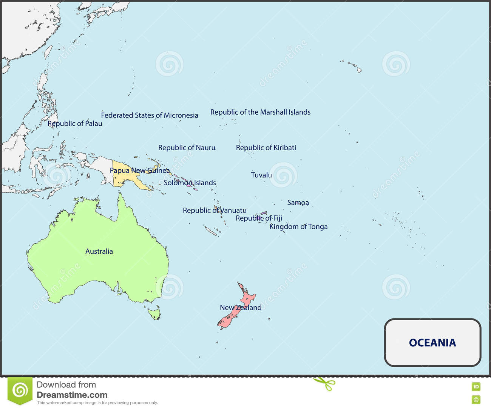 Polityczna Mapa Oceania Z Imionami Ilustracja Wektor Ilustracja