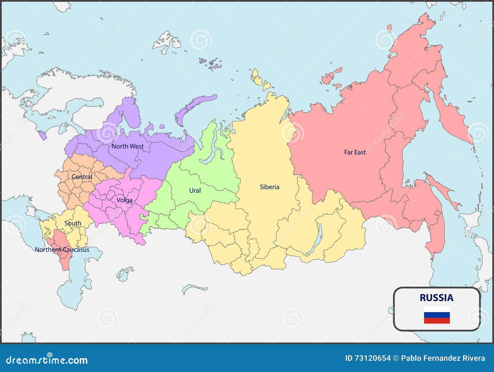 Polityczna Mapa Rosja Z Imionami Ilustracja Wektor Ilustracja