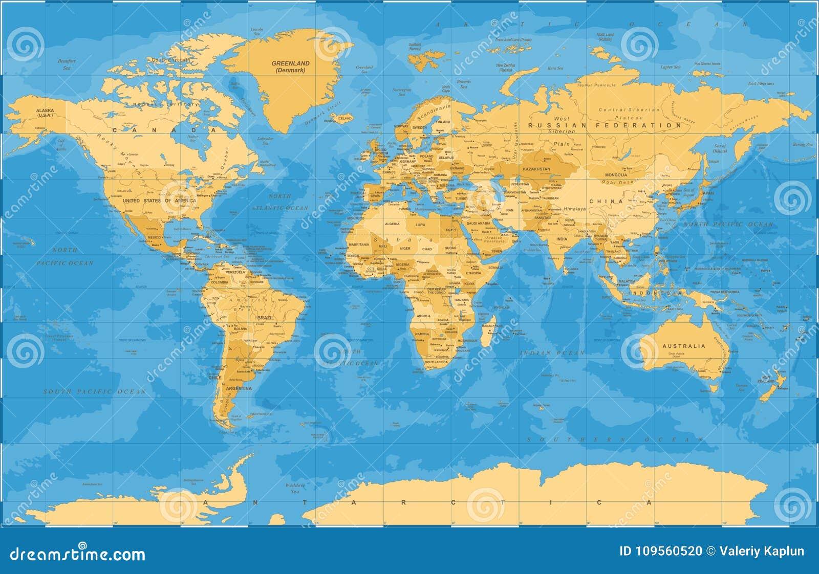 Polityczny Złoty Błękitny Światowej mapy wektor