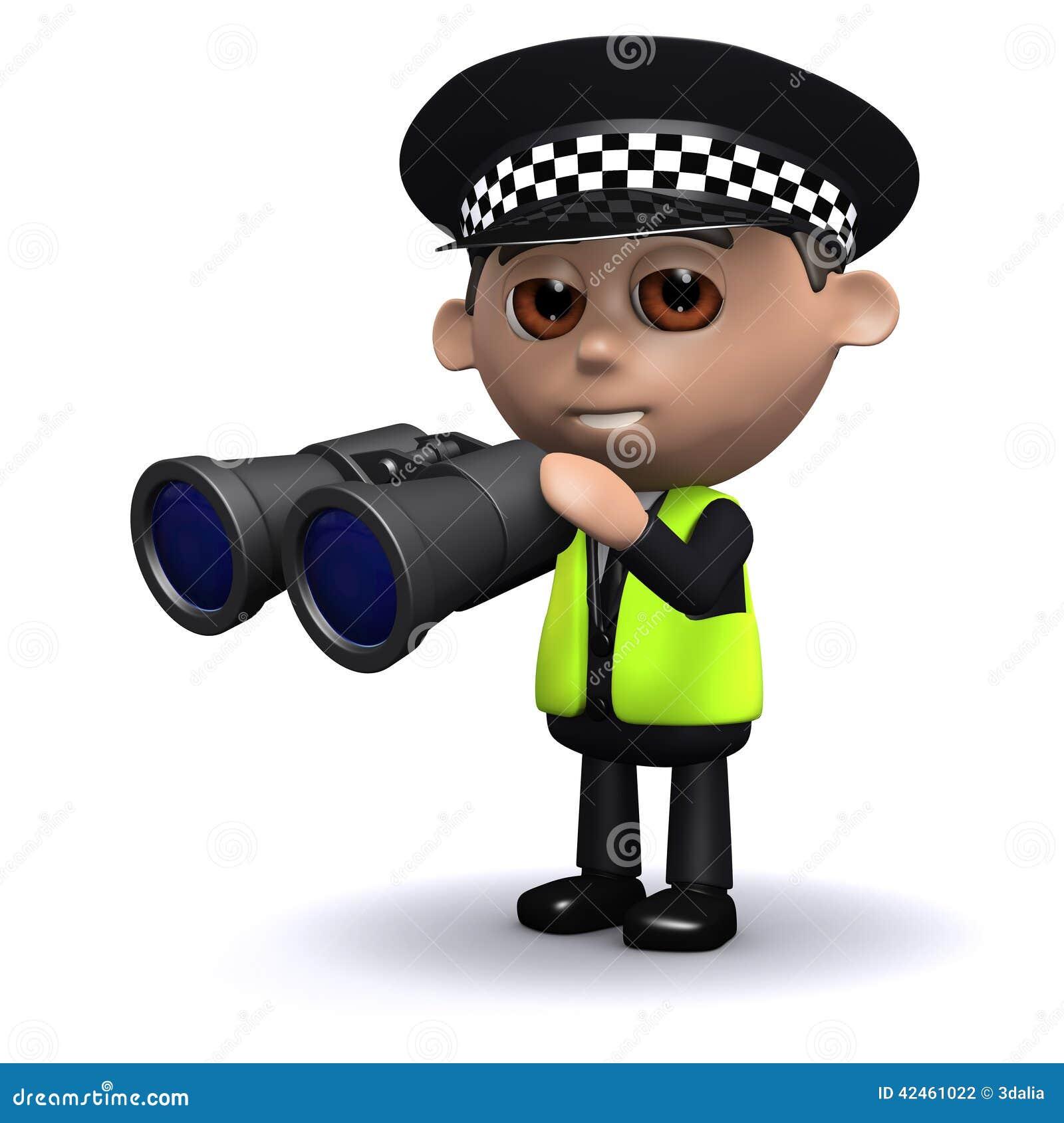 Polizeibeamte 3d schaut durch Ferngläser