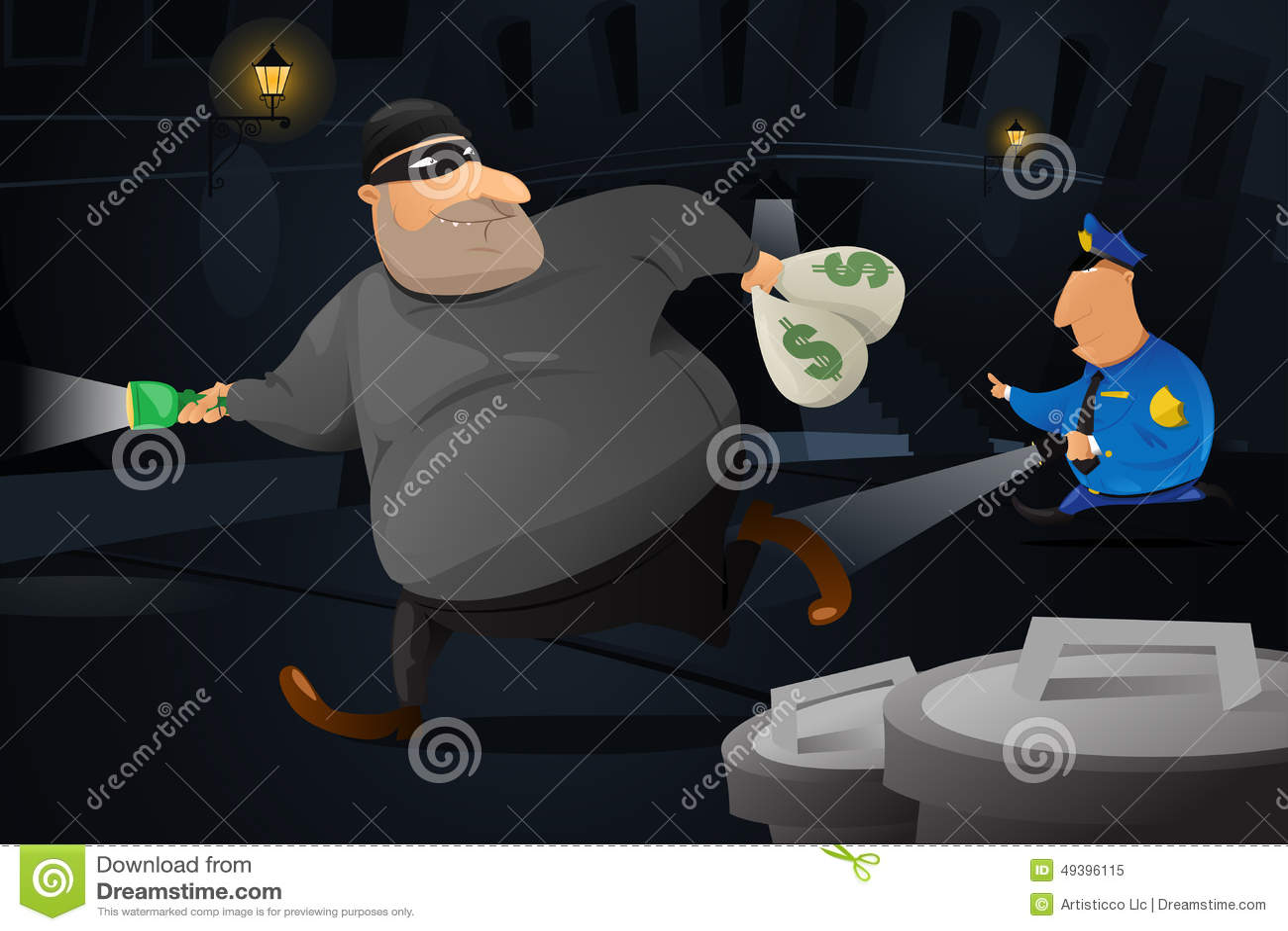 Poliziotto che prende un ladro in un vicolo scuro
