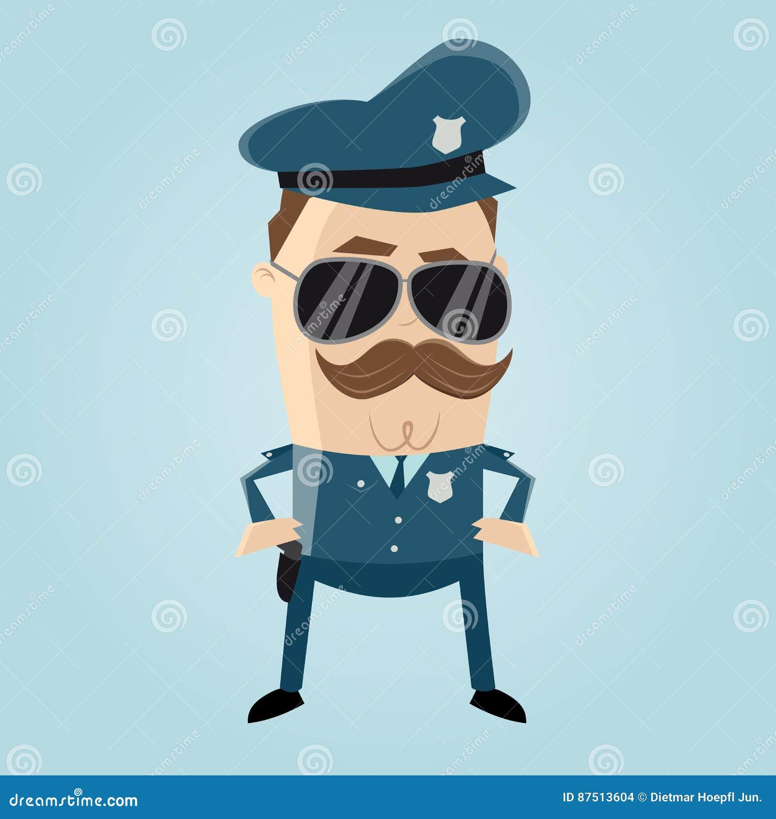 Poliziotto Divertente Con Sole Da Baffi Ed I Gli Occhiali ybgYfv76