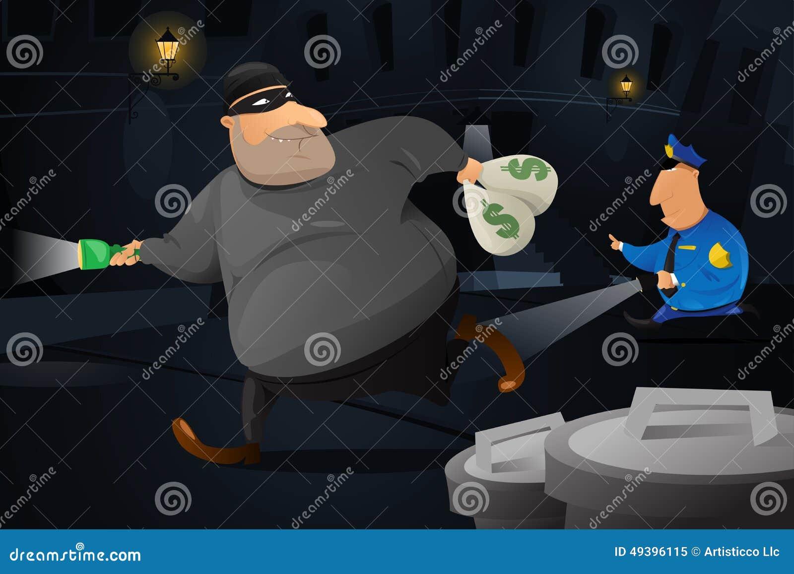 Polizist, der einen Räuber in einer dunklen Gasse fängt