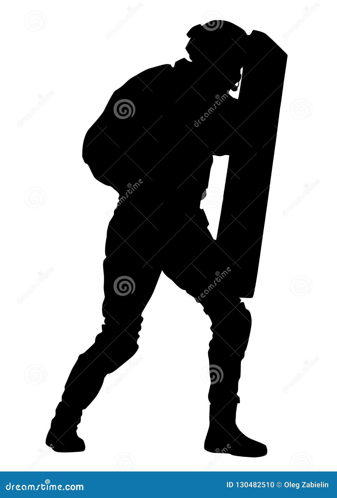 Polizist mit Antiaufstandschild-Vektorschattenbild