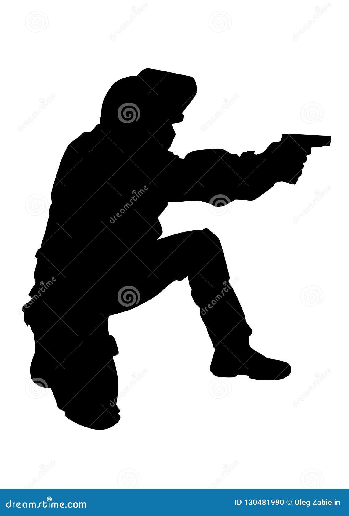 Polizistschießen mit Pistolenvektorschwarzschattenbild