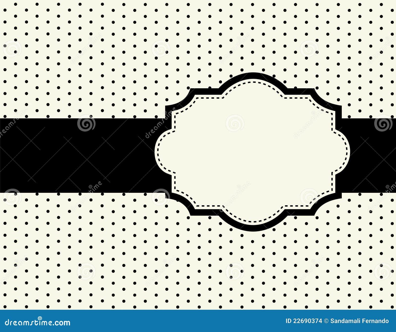 Cute polka dots frames / border s with black ribbons doodle frame ...