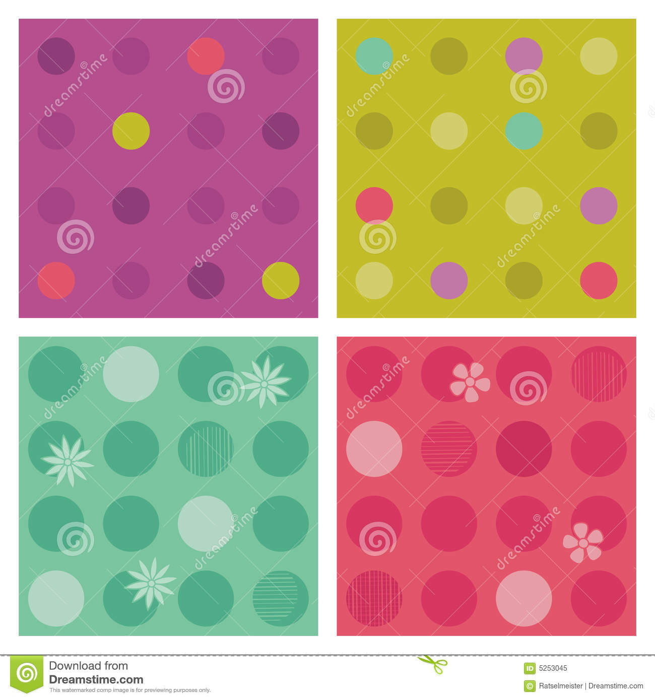 Polka-dot repeat patterns (seamless backgrounds)