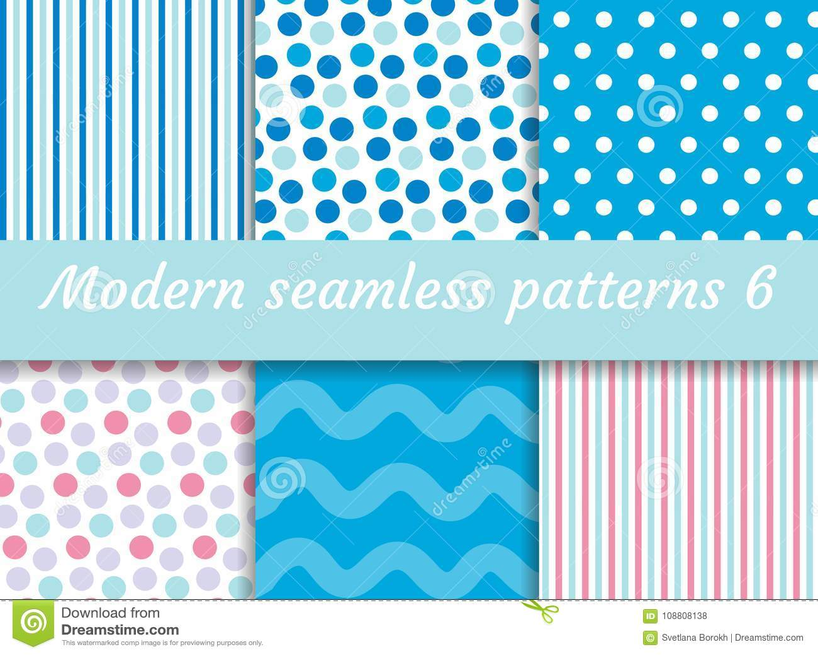 Polka dot, strips wave seamless pattern set. Digital Paper collection, modern style. Scrapbooking Kit. Vector
