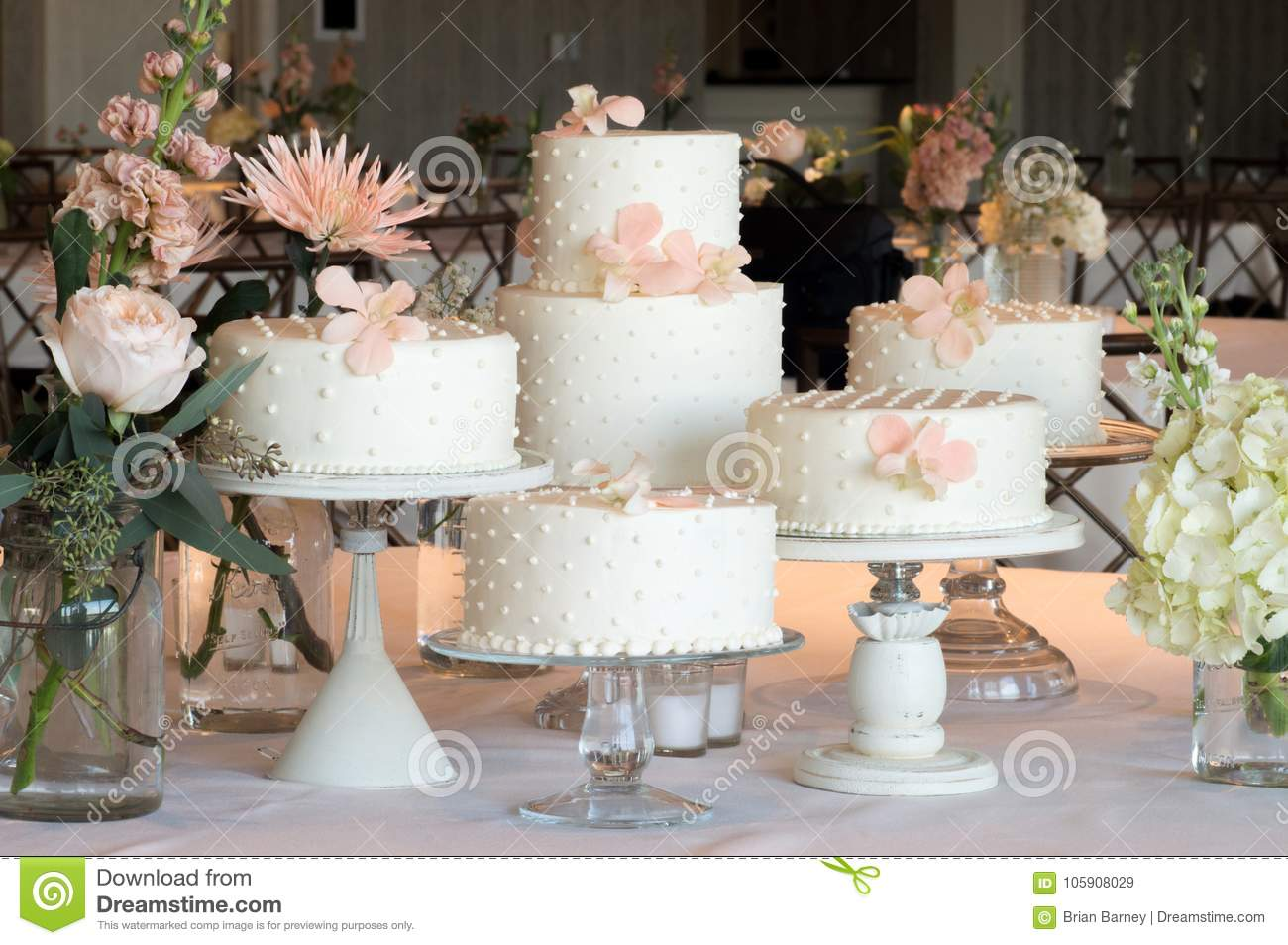 Polka Dot Wedding Cake Arrangement Stock Image Image Of
