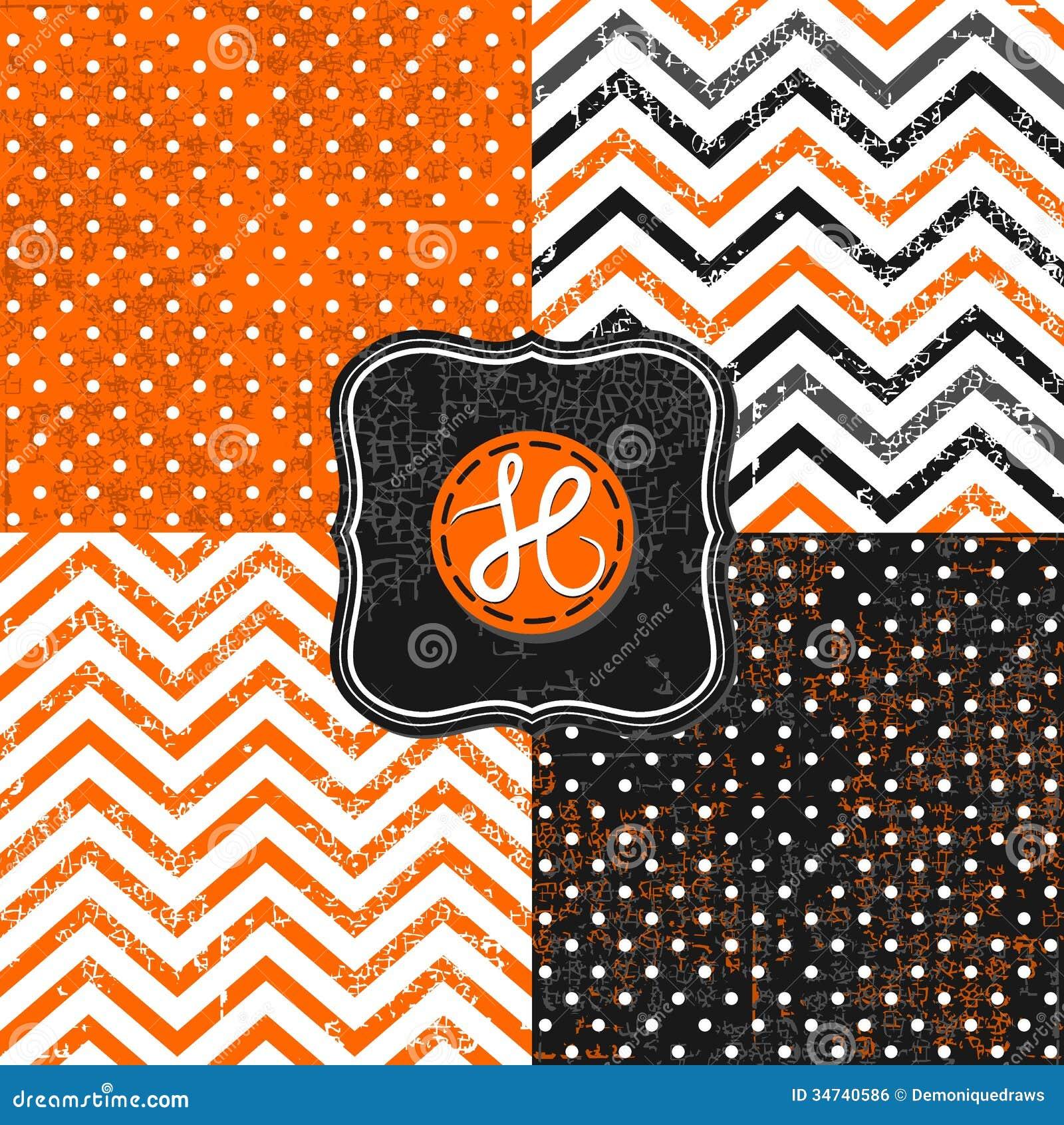 black chevron dots halloween little orange - Black And Orange Halloween