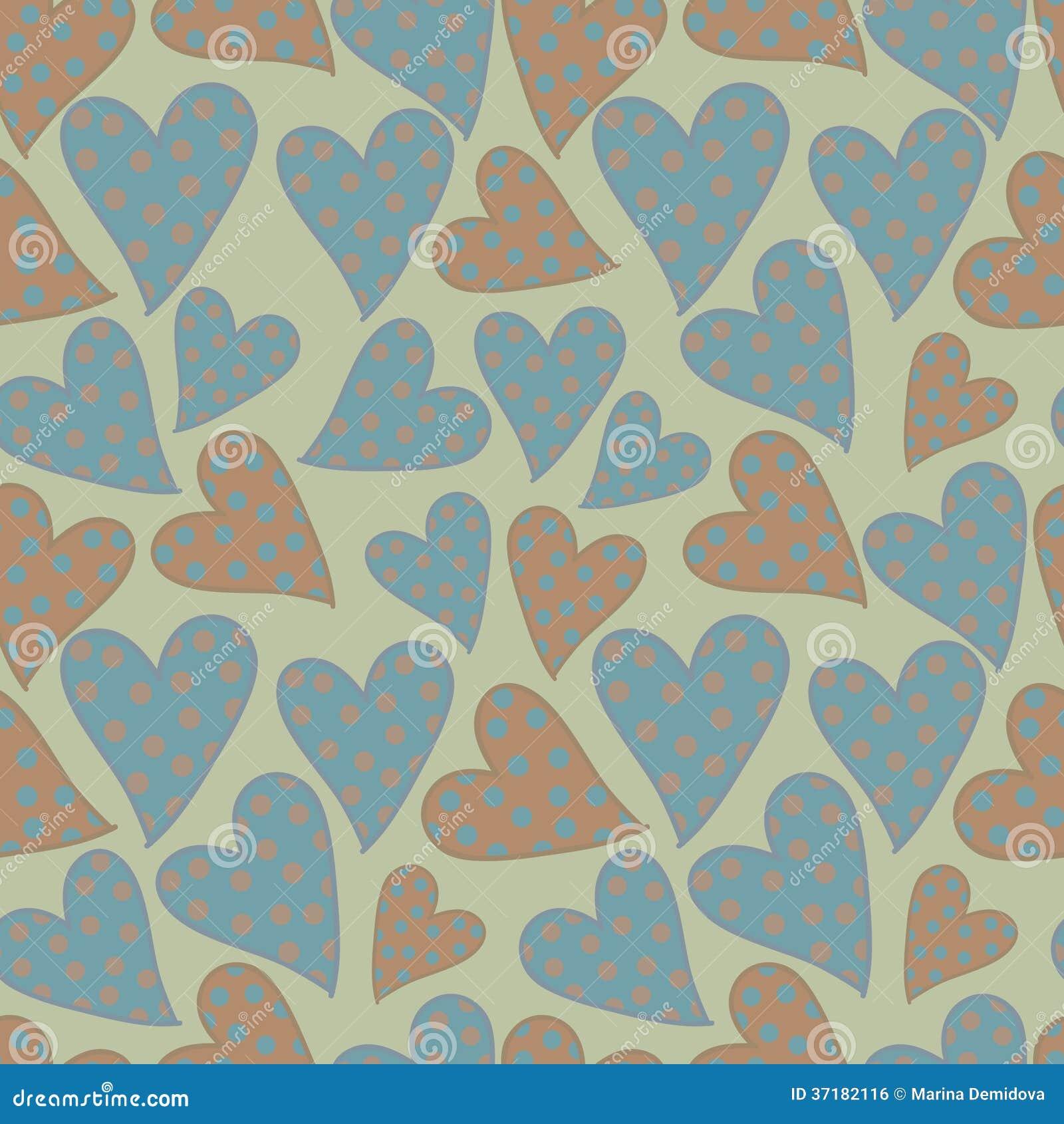 Polka dots hearts seamless pattern