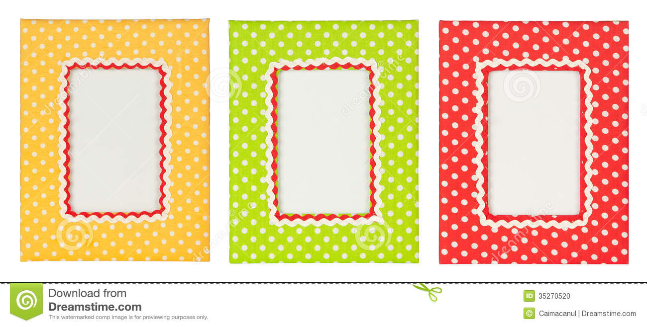 polka dots photo frame colored frames isolated white