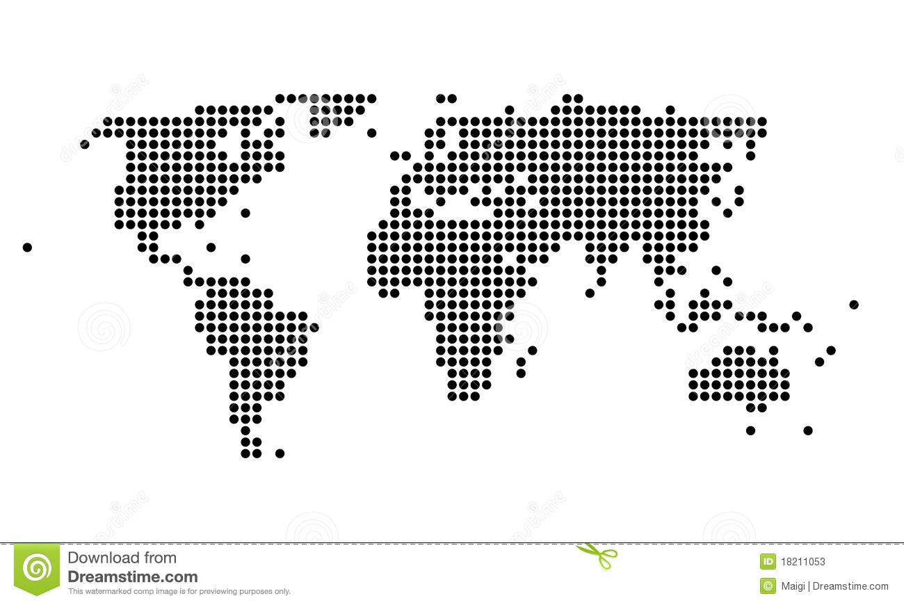 Polka dotted map of the world