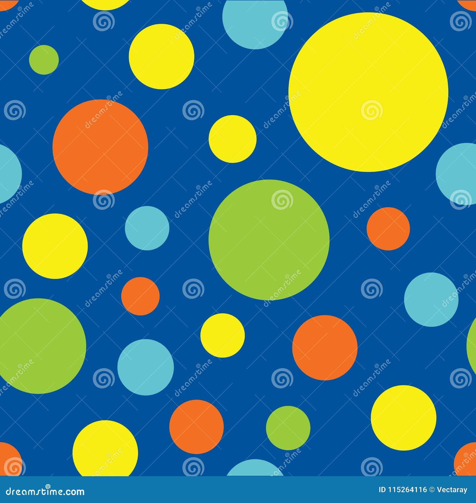 Polka sans couture Dot Pattern Background dans le bleu, la turquoise, le vert de chaux, le jaune et l orange