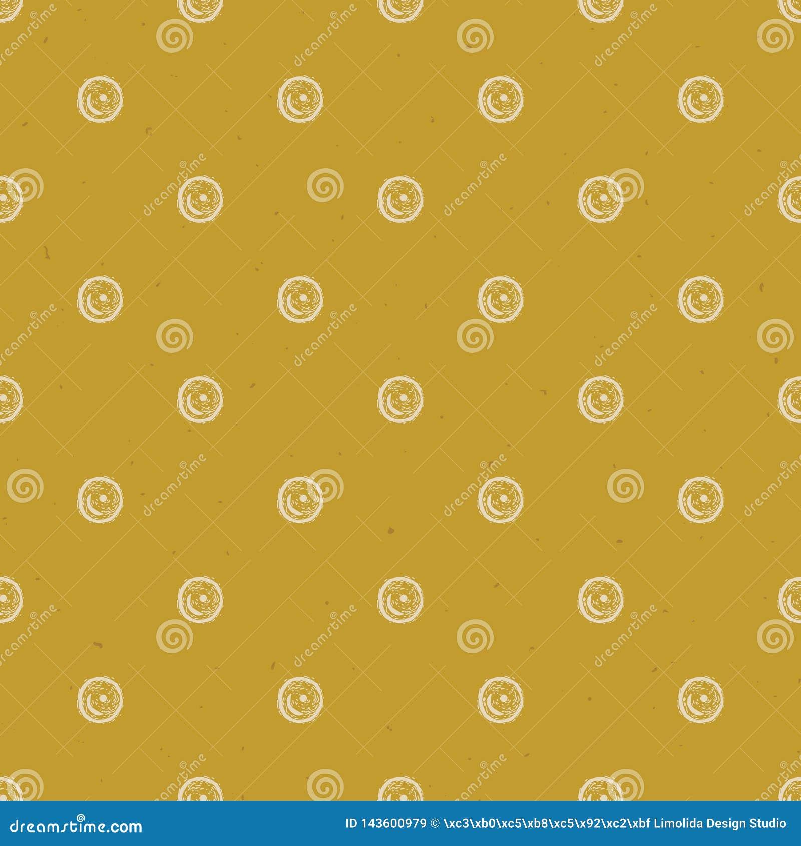 PolkaDots Lino Cut Texture Seamless Vector för Grunge lantlig modell