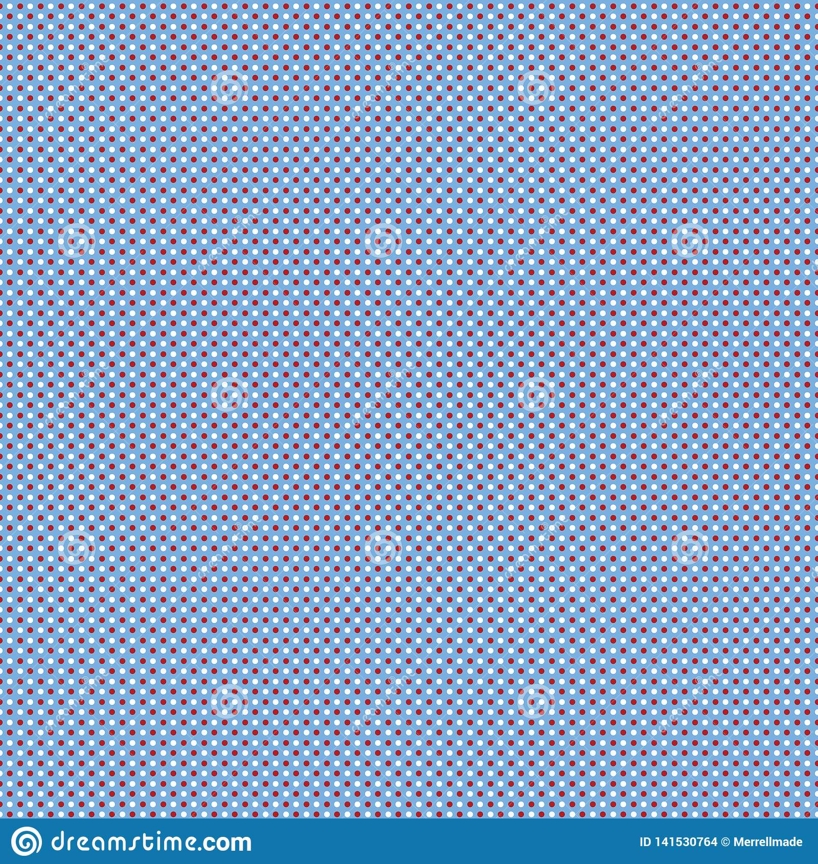 Polkadot Repeating Pattern - Blue, Red, White