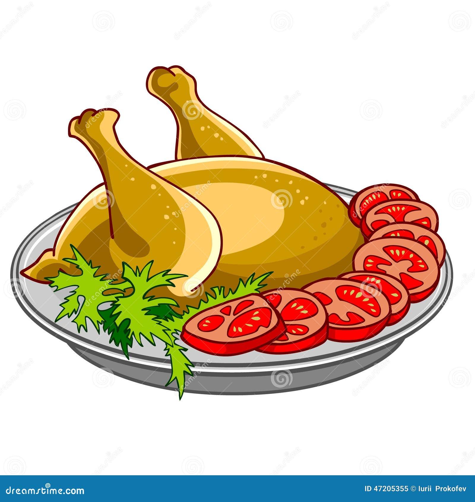 Pollo cocido con las verduras en un disco ilustración del