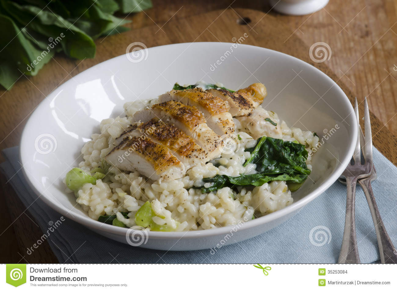 Risotto con spinaci e pollo