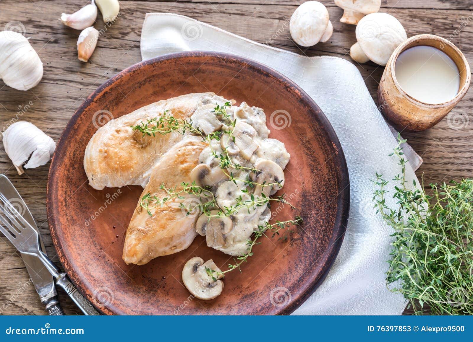 Pollo cremoso del fungo all aglio