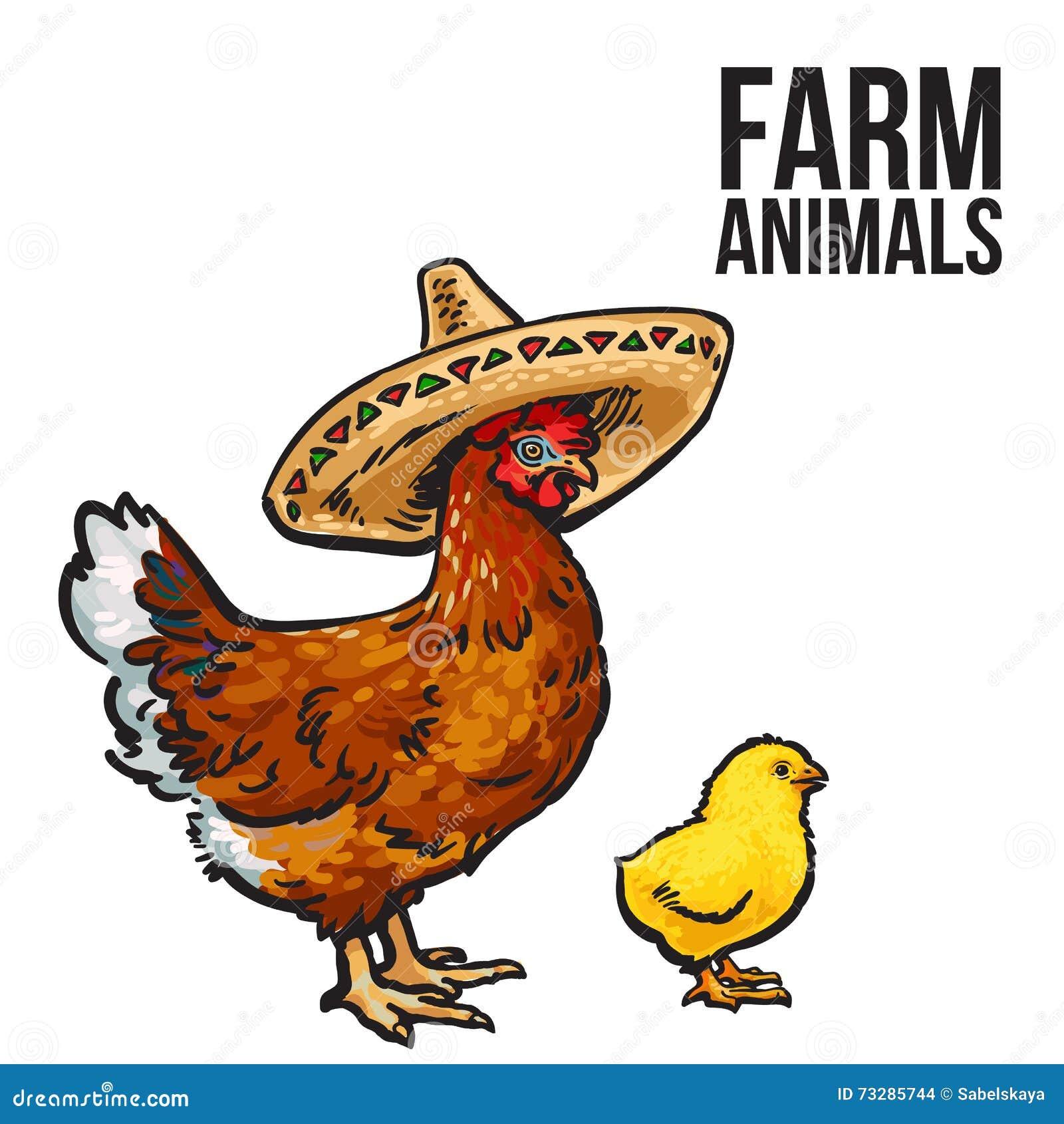 Pollo del jengibre con el polluelo y los sombreros