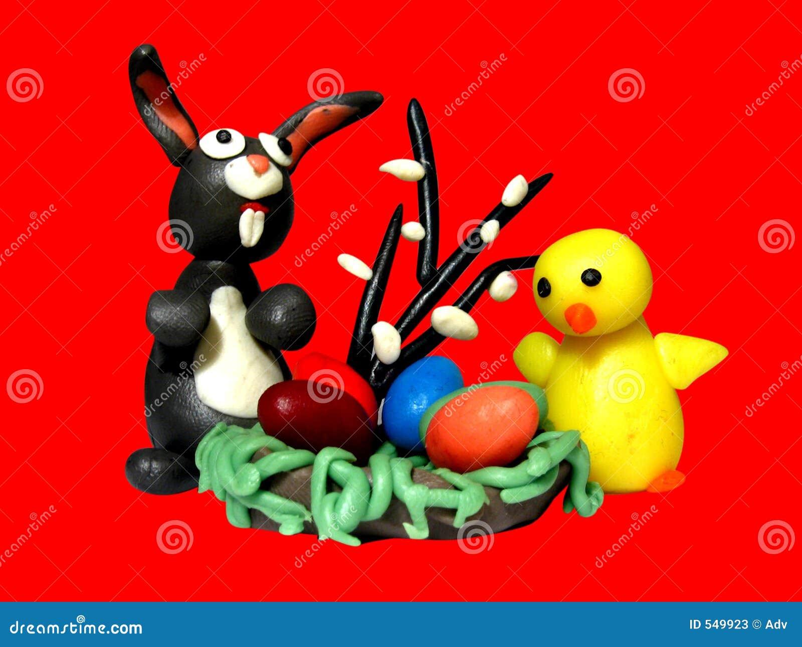 Pollo ed uova del coniglietto di pasqua illustrazione di - Lettere stampabili del coniglietto di pasqua ...