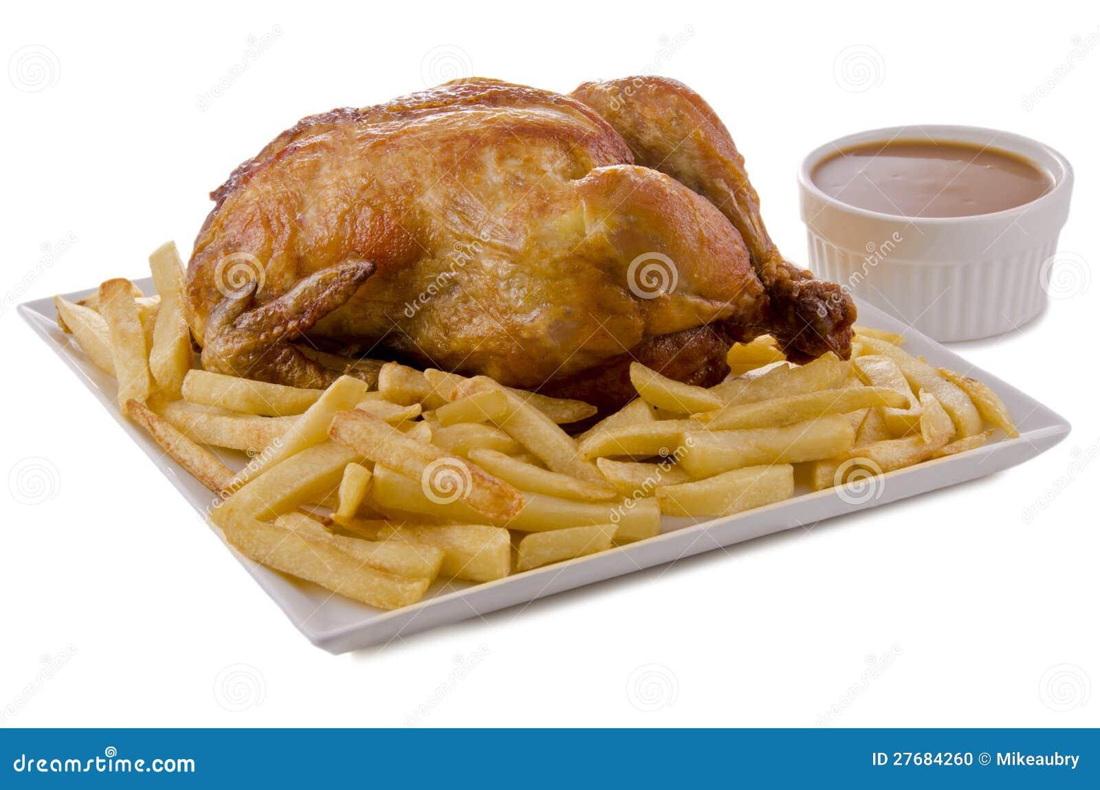Pollo y patatas fritas asados foto de archivo imagen de - Salsa para pollos asados ...
