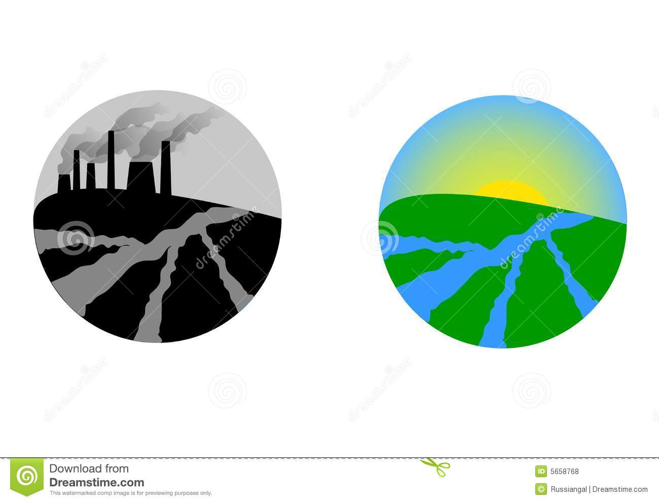 Clean And Polluted Earth Planet Globe Cartoon Vector ...