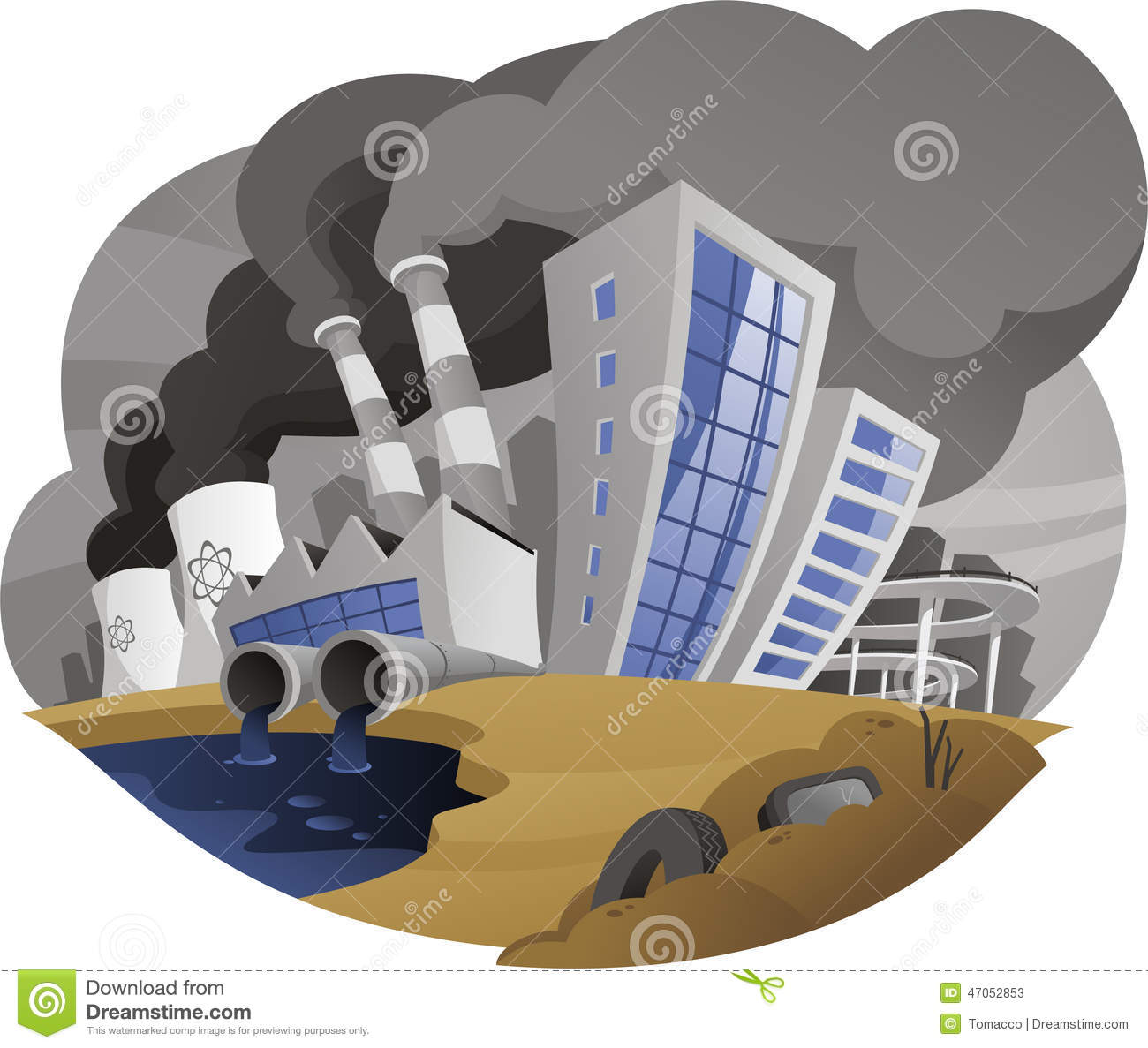 Polluting City With Fume Chimney Factory Plant Drain Waste
