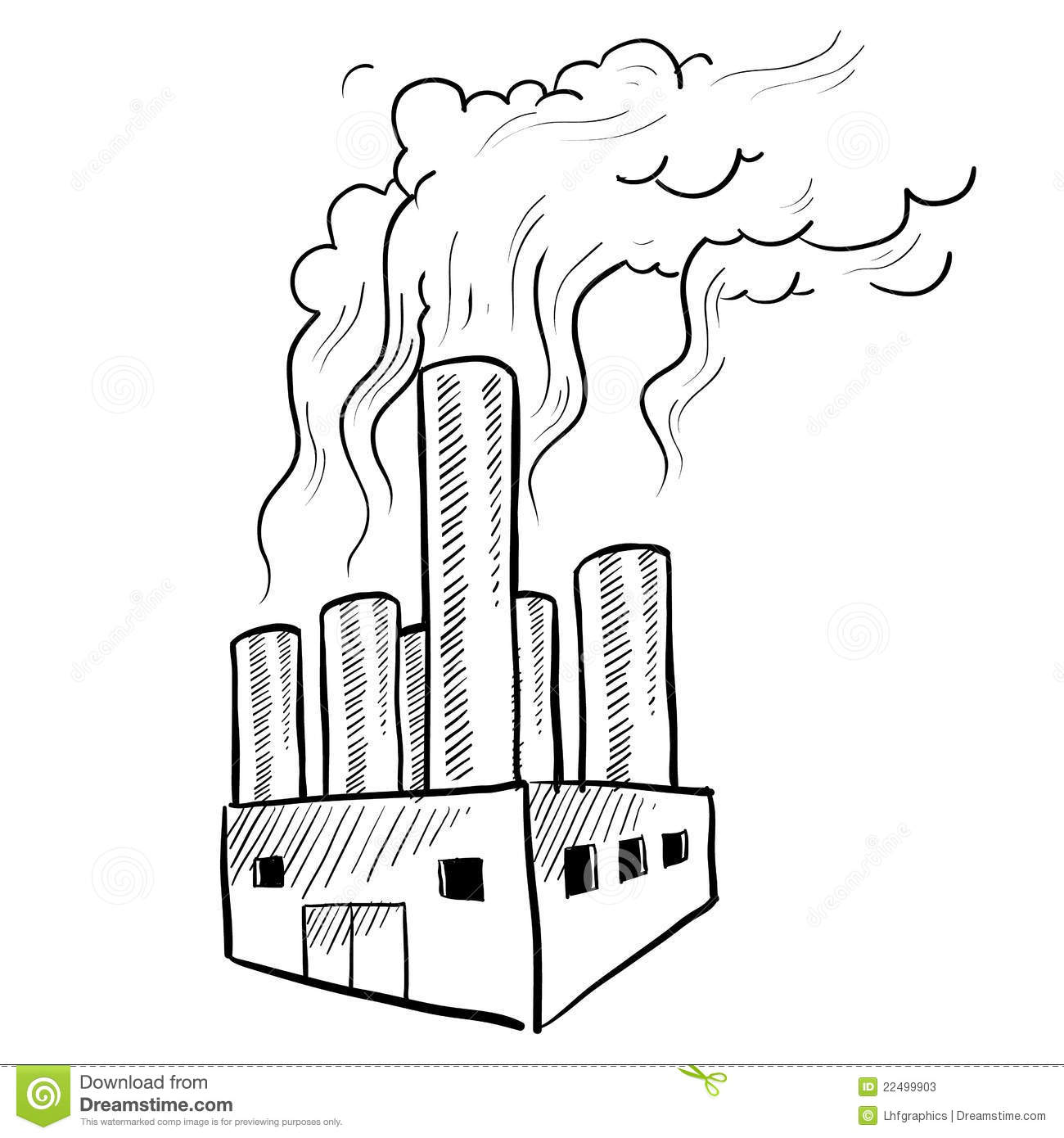 Doodle style polluting industrial smokestack or factory illustration ...