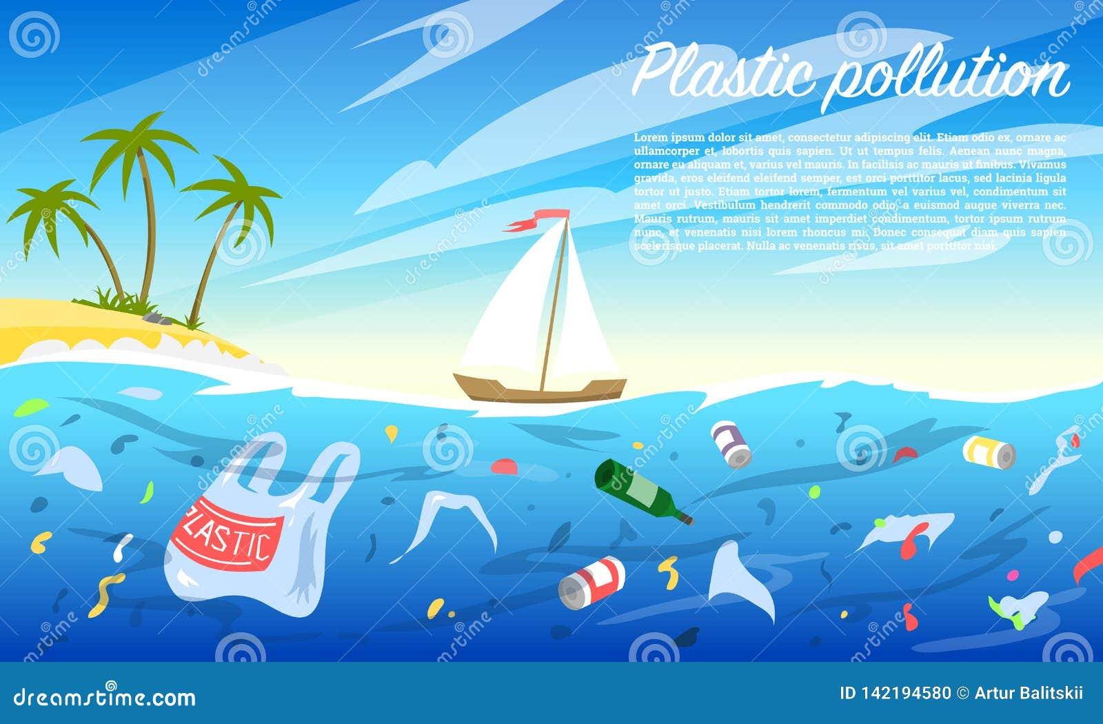 Pollution d océan Bouteille et sacs en plastique, déchets, déchets, déchets de ménage dans l eau Problème écologique