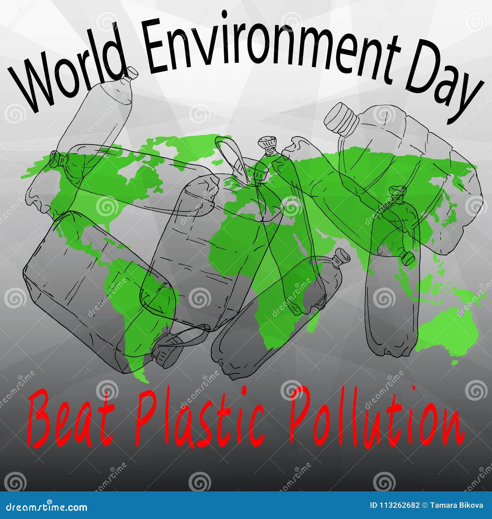 Pollution de plastique de battement Jour d environnement du monde