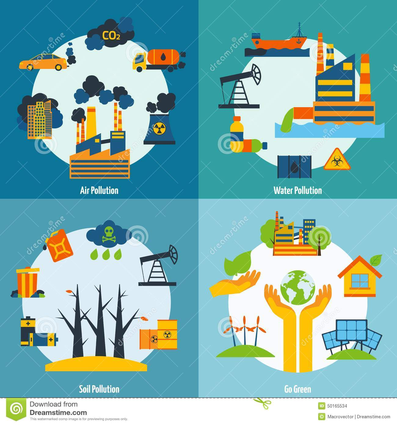 Pollution and ecology set stock vector illustration of for Soil and water facts