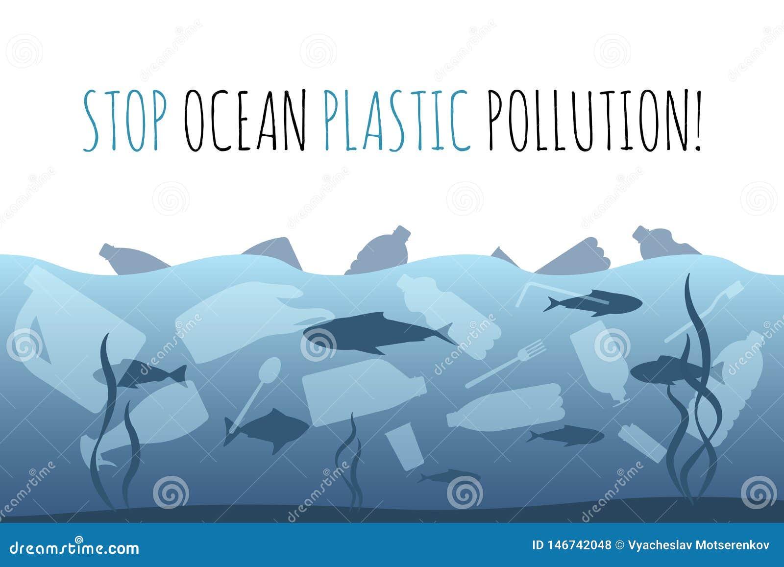 Pollution en plastique d oc?an d arr?t Sac de d?chets en plastique, bouteille dans la conception graphique d oc?an Probl?me de d?