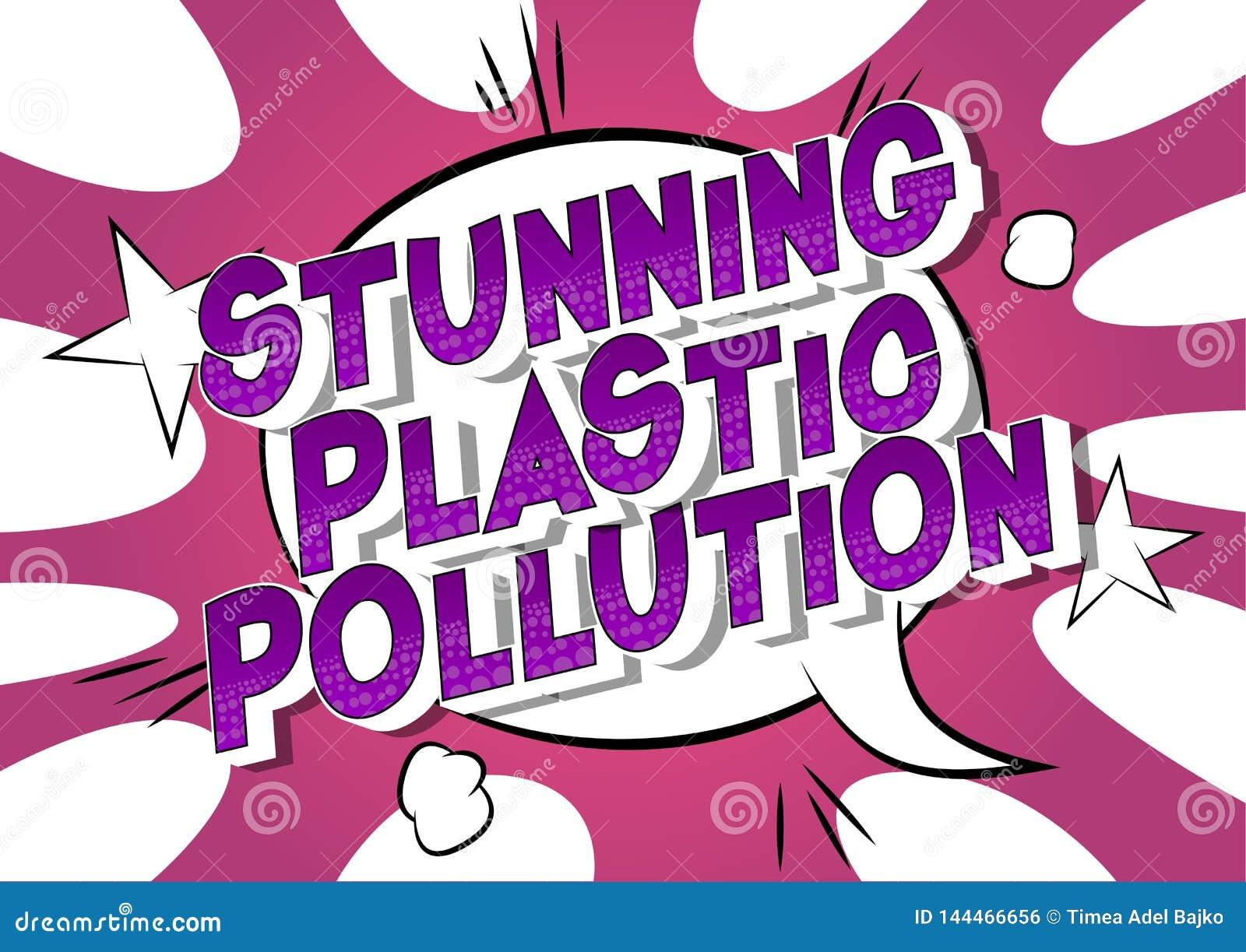 Pollution en plastique de stupéfaction - mots de style de bande dessinée