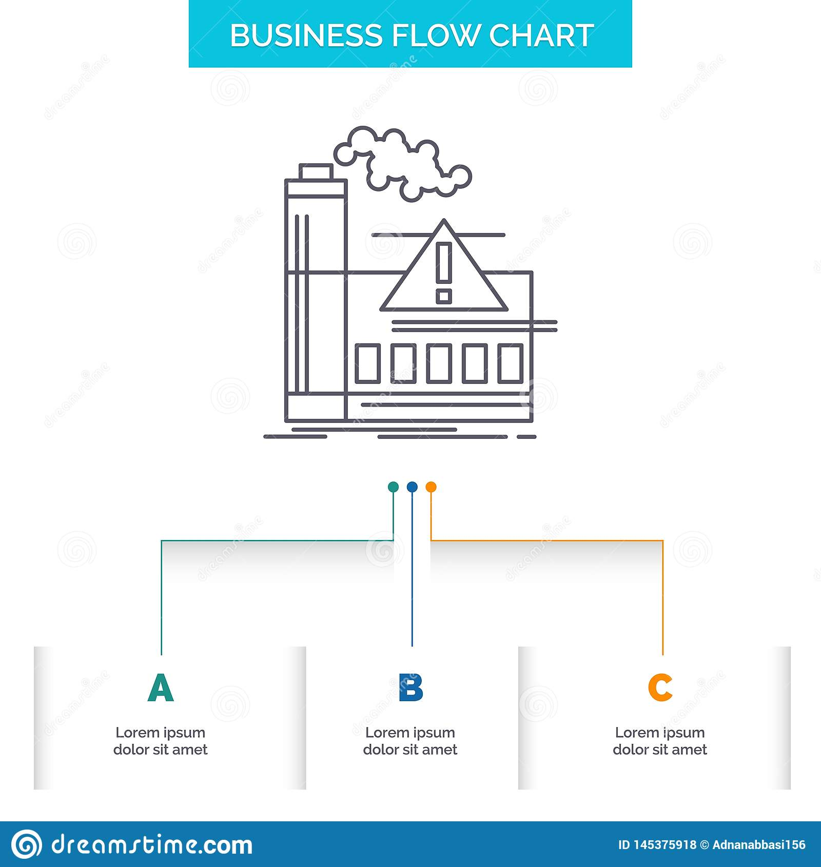 pollution, factory, air, alert, industry business flow chart design with 3  steps  line icon for presentation background template place for text