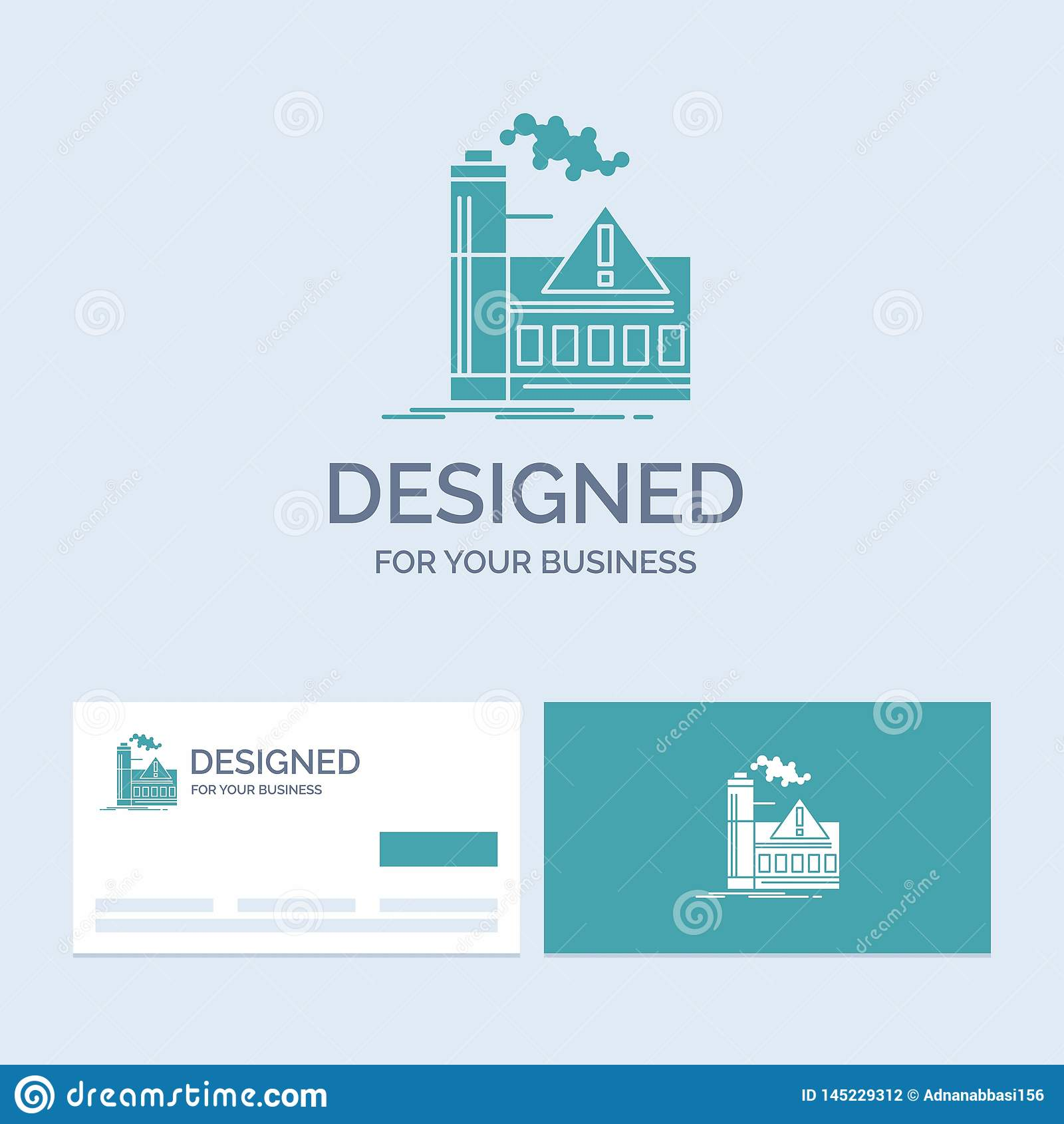 pollution, Factory, Air, Alert, industry Business Logo Glyph Icon Symbol for your business. Turquoise Business Cards with Brand