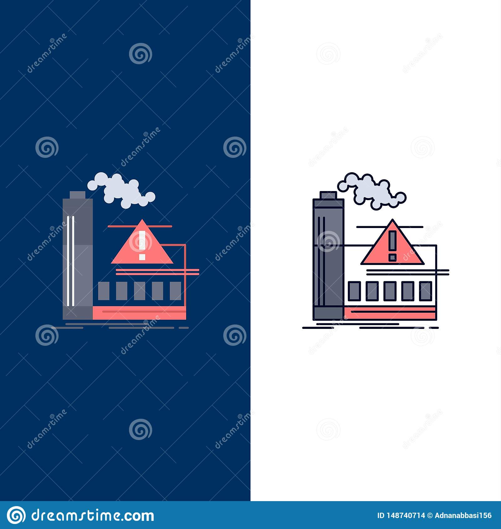 pollution, Factory, Air, Alert, industry Flat Color Icon Vector