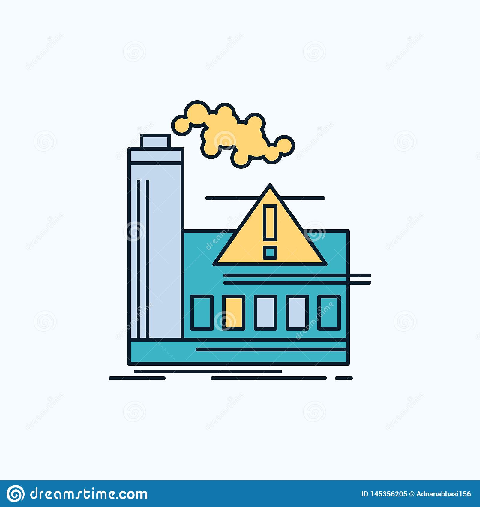pollution, Factory, Air, Alert, industry Flat Icon. green and Yellow sign and symbols for website and Mobile appliation. vector